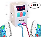 #7: All in one universal travel adapter with 2 usb port indian pin to multi 3 pin plug power adapter 2 Ampere - White