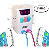 All In One Universal Travel Adapter With 2 Usb Port Indian Pin To Multi 3 Pin Plug Power Adapter 2 Ampere - White