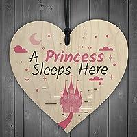 RED OCEAN A Princess Sleeps Here Wooden Hanging Heart Baby Daughter Bedroom Plaque Girls Door Sign