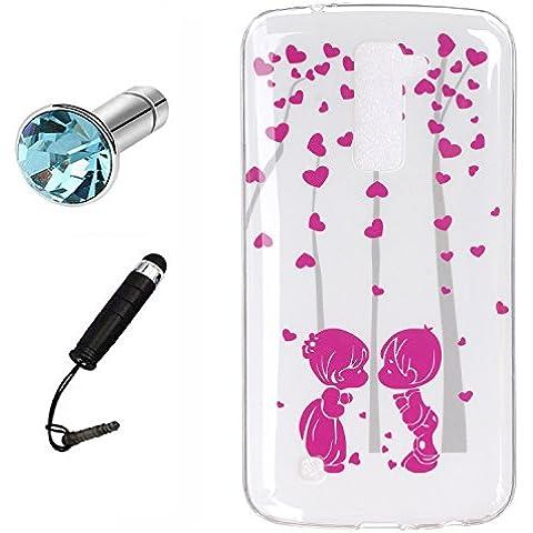 Lusee® Funda de silicona para LG K10 5.3 Suave Cascara TPU romántico beso