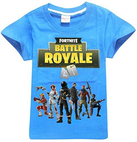 EMILYLE Jungen Sport Fitness T-Shirt Fortnite Kinder Videospiele Fans Sommer Streetwear Battle PVP Multiplayer Kurzarm Top Rundhals Tees (120cm (6-7 Jahre Alt), Blau-2)