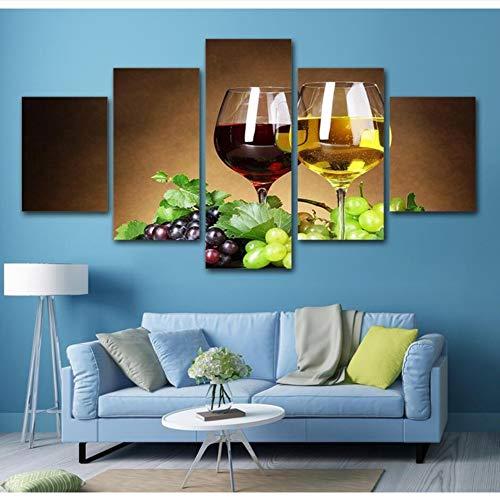 Meaosy Kunstwerk Poster Hd Prints Wohnkultur 5 Stücke Traube Wein Trinken Wandkunst Modularen Obst Bilder Wohnzimmer Leinwand Malerei -40X60/80/100Cm