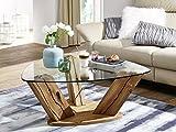 moebel-eins Prag Couchtisch Wohnzimmertisch Sofatisch Holztisch Glastisch Kaffeetisch Beistelltisch Wildeiche mit Glasplatte, Wildeiche Lackiert