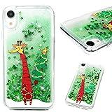 Edauto Hülle für iPhone XR Handyhülle Weihnachts Serie Case Treibsand Stoßfest Schutzhülle Durchsichtige Tasche Handytasche Handyschale TPU Silikon Anti-Shock Backcover Rote Schal Giraffe