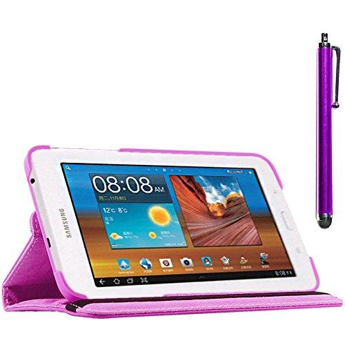 ebestStar - compatibel Samsung Galaxy Tab 3 Lite 7.0 Hülle SM-T110, VE SM-T113 Rotierend Schutzhülle Etui, Schutz Hülle Ständer, Rotating Case Cover Stand +Stift, Lila [Tab: 193.4 x116.4 x9.7mm 7.0