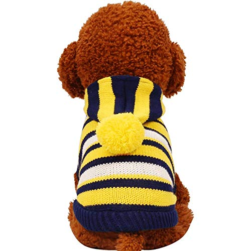 Nette Gestreifte Strickjacke Hund Kleidung Mantel Jacke Welpen Kleine Hunde Katze Kostüm Bekleidung Hoodies Chihuahua Yorkie Warm Soft (Farbe : Yellow, Größe : XXS)