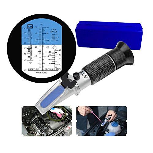 HH-TEC 4-in-1 Frostschutz Refraktometer Ethylenglykol, Propylenglykol, für Gefrierpunkt von Kühlwasser, Scheibenwasser, AdBlue, Batterie, mit Bedienungsanleitung in Deutsch