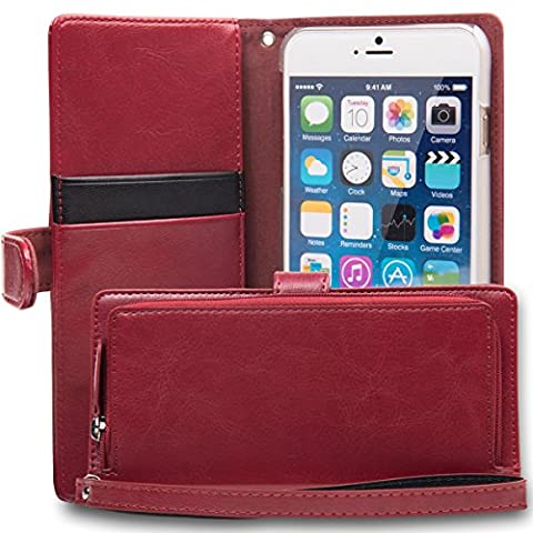 iPhone 6S Plus Case, TORU [iPhone 6S Plus Zipper Wallet Case] Card Slot Holder Magnetic Flip Cover with Zipper Pocket and Wrist Strap for iPhone 6S Plus / iPhone 6 Plus - Burgundy