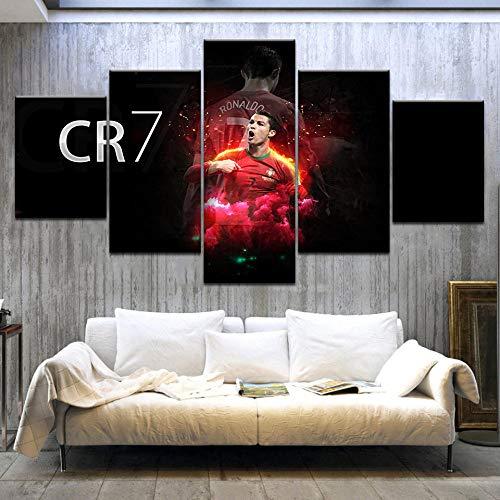 Yyjyxd Leinwand Wandkunst Modulare Bilderrahmen Moderne Dekoration 5 Stücke Sport CR7 Cristiano Ronaldo HD Gedruckt Jungen Zimmer Poster-16x24/32/40inch,With frame (Cristianos Y Halloween)