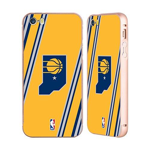 Ufficiale NBA Banner Indiana Pacers Oro Cover Contorno con Bumper in Alluminio per Apple iPhone 5 / 5s / SE Righe