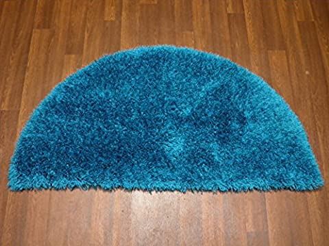 Shaggy 100% Polyester Hand Tufted Shaggy Rug 60cm x 120cm Half Moon In Teal Soft to Touch