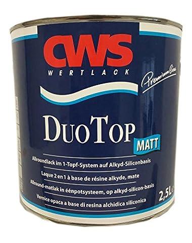 CWS CD Color Duo Top Matt, 2,5 L weiss, Matter Allroundlack auf Alkyd-Silikon-Basis. Lösemittelbasiertes Ein-Topf-System zur Grund- und Decklackierung im Innen- und Außenbereich.