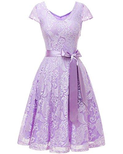 Bridesmay Damen Spitzenkleid Kurz Brautjungfern Cap Ärmeln Cocktailkleid Abendkleider, 3XL, Lavender (Lavender Lace Kleid)