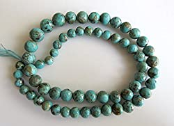 Faceted Arizona Turquoise, Natural Sleeping Beauty Turquoise Round Beads, 6mm To 9mm Beads, 16 Inch Strand