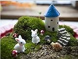 ginsco Set di 10 ornamenti fai da te composti da casetta, conigli, erba, funghi, tartarughe, scale, terriccio, muschio