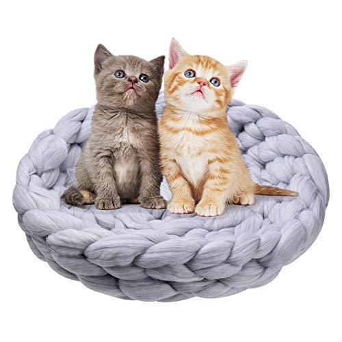 Yiye Zhiqiu Haustier Katze Bett kleiner Hund Welpe Zwinger Sofa dicke Wolle stricken Zwinger handgestrickt Bett Haustier Matte Katze Haus schlafen warmes Nest -