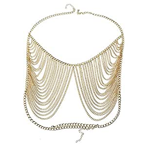 FemNmas Golden Multi Chain Victoria Style Adjustable Body Bra Chain for Women