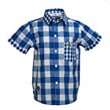 Beanie Bugs Half Sleeves Casual Blue Check Shirt for Boys (10-12 Years)