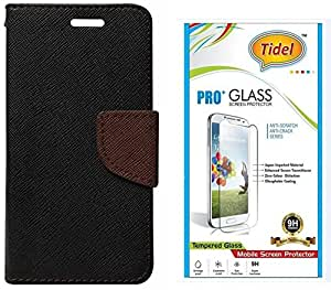 Tidel Premium Table Talk Fancy Diary Wallet Flip Cover Case for Lenovo A6000 Shot (Black) With Tidel 2.5D Tempered Glass