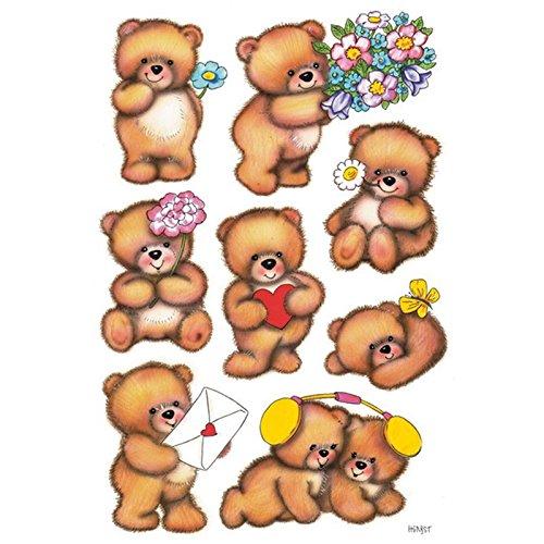 Sticker/Schmucketikett Decor Bären mit Blumen 3Blatt/1 Pack