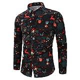 AMUSTER Männer lässig Schneeflocken Santa Candy gedruckt Weihnachten Shirt Top Bluse Herren Hemd Druck Langarm Button-Down Urlaub Hawaii Shirt