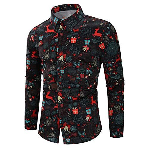 Weihnachten Shirt Herren Hemd UFODB Männer T-Shirt Langarm Festlich Xmas Longshirt Freizeit Mode Sweatshirt Drucken Christmas Bluse...