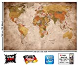 GREAT ART Mapa del Mundo para Pared, decoración Retro, diseño XXL, póster, (140 x 100 cm)