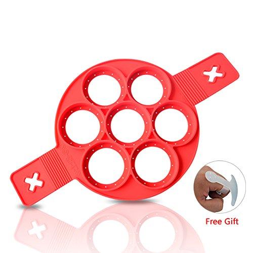 Neue Nonstick Silikon Ei Ring Pfannkuchen Form, verbesserte Silikon auslaufsichere Design, Fast&Einfache Möglichkeit Perfekte Pancakes (Stick Form)