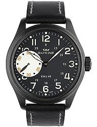 Glycine KMU 48 LTD 250 - Reloj manual (caja con recubrimiento PVD color negro, subesfera de segundos a las 9), correa de piel color negro