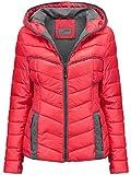 Damen STEPP Jacke Winter ÜBERGANGSJACKE Herbstjacke KURZ Kapuze Skijacke, Farbe:Rosa, Größe:M