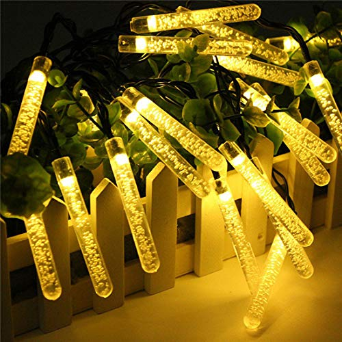 Blase Eiszapfen Lichterketten,KINGCOO 15FT 20Led Icicle Lichtschläuche Regentropfen Solarlampe Dekorative Schnur Lichter für Außen Weihnachten Garland Kristall Strand Hochzeit Dekoration (Warmweiß)