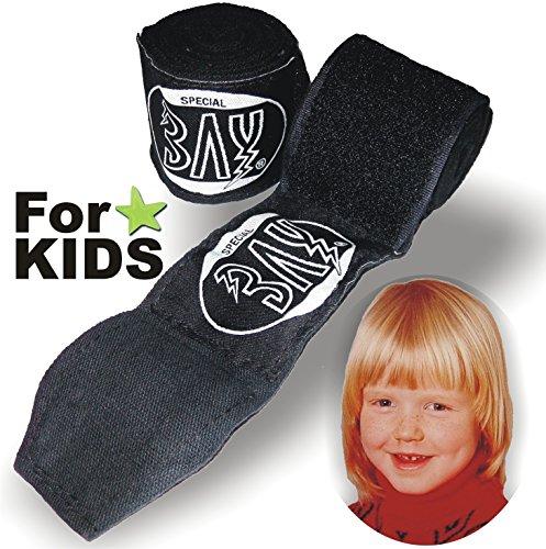 """BAY® """"KIDS basic 2,0"""" Boxbandagen SPEZIELL FÜR KINDER SCHWARZ + WICKELANLEITUNG, elastisch und etwas dünner, 2,0 Meter x 5 cm, Box-Bandagen, Paar"""