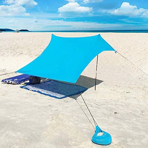 Qrout Strandzelt mit Sand Anker - Portable Strandmuschel uv Schutz mit 100% Lycra - Sonnensegel für 2-4 Personen 210 X 210 cm für Strand Camping Wandern Angeln Picknick (Blau)