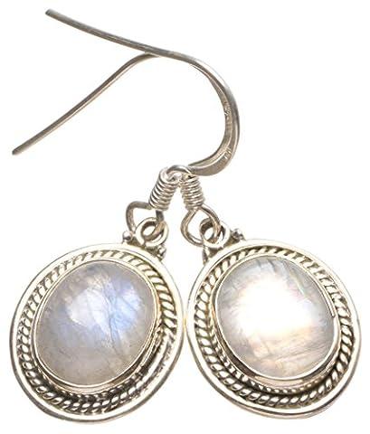 Stargems (TM) Naturel de qualité supérieure arc-en-ciel Pierre de Lune fabriqué à la main indien Argent sterling 925Boucles d'oreilles 11/10,2cm
