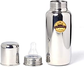 GESTIONE Stainless Steel Baby Feeding Bottle 1 Pice (170 ml)(# 304 High Quality Stainless Steel) Extra Cap for Traveling Purpose