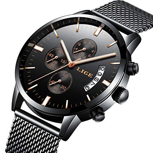 Reloj, Relojes para hombres, Relojes casuales de lujo clásicos de acero inoxidable negro con calendario Multifunciones impermeables reloj de pulsera de malla milanesa de cuarzo para hombres (Oro rosa)