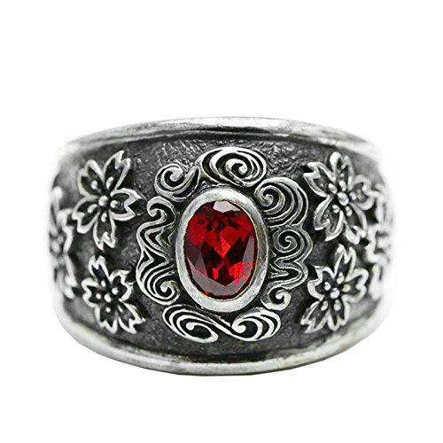 SonMo Herren 17MM Silber Ring 925 Rot Oval Stein Blume Muster Rot Oval Stein Gotische Blume Muster Siegelring Herren Kleiner Finger Man Punk Ring Silber Schwarz...