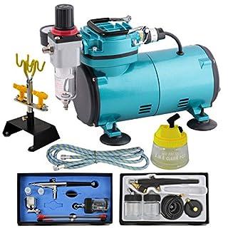 AMUR Profi-Airbrush Set mit Airbrush-Kompressor Compact II Blau - Airbrushpistole - Reinigungsbürsten - Ideales Airbrush Kit für Einsteiger und Fortgeschrittene der Airbrush Technik