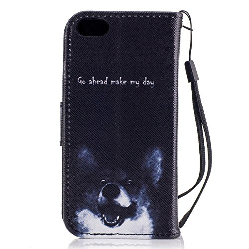 Custodia iPhone 5S cover iPhone 5 case iPhone SE,Ukayfe Stitching Colore Flip Case Cover per iPhone 5S,iPhone 5 iPhone 5S iPhone SE Lussuosa Astuccio Custodia Cover [PU Leather] [Shock-Absorption] Pro Cane corgi 2#