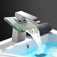 Monocomando Deck Monte ottone cromato bagno cascata lavandino rubinetto miscelatore acqua calda e acqua fredda vaso rubinetto del bacino del lavabo vanità rubinetti, il becco di vetro corpo