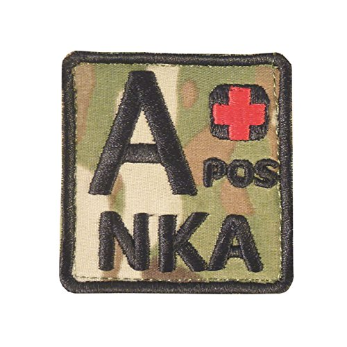 Image of Multicam A POS A+ NKA Blood Type Embroidered Hook-and-Loop Patch