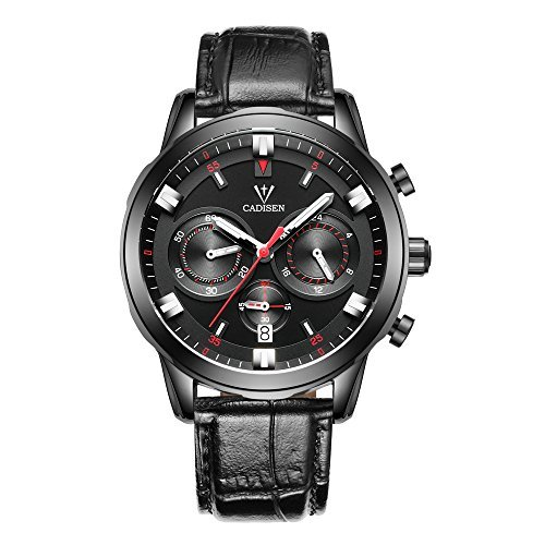 Baogela Black Mens Chronograph Miltary Casual Sport Black Leather Quartz Watch (1702-HMH)
