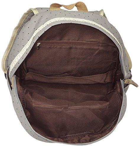 HITOP Vintage Mode Damen accessories hohe Qualität Leinwand Einfache Drucken Punkt Tasche Schultertasche Freizeitrucksack Tasche Rucksäcke (grau) - 3