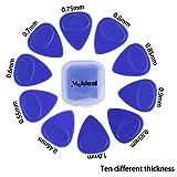 PER 10 Pezzi Chitarra Plettri a Diffenrenti Spessori Antiscivolo e Pratico Set di Chitarra Plettri (Blu)