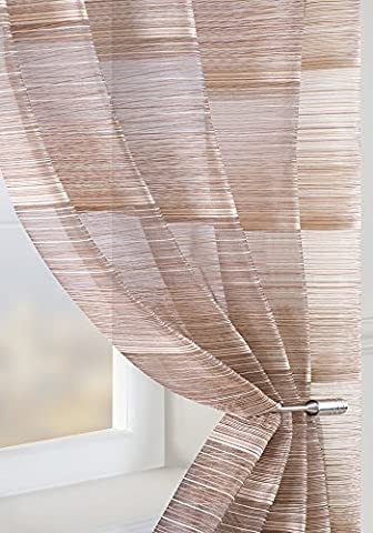 CHOCOLATE BROWN Voile Panel Fine Stripe Semi Sheer Curtain Window Size: 150x180cm/59x71 by Showpiece Curtains and Voiles