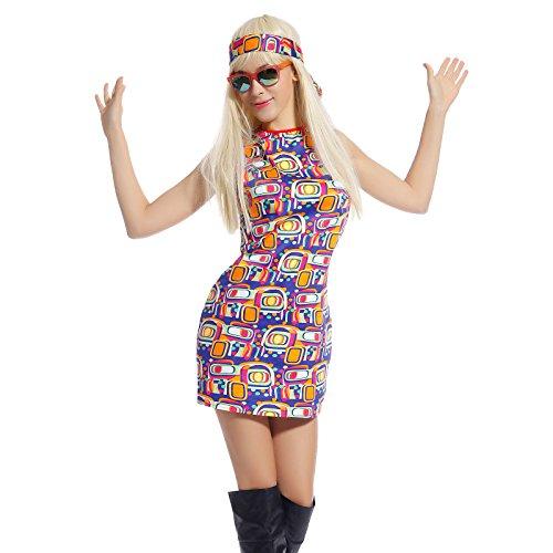 60er 70er 80er Jahre aermerlos Kleid Kleider Kostuem Flowerpower Damen Hippie Hippy Hippiekostuem Party (Kleid Jahre 70er 80er)