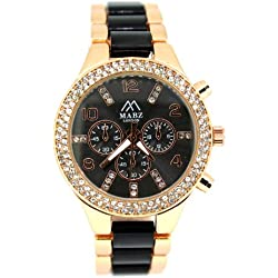 Mabz London Ladies Womens Watch Rose Gold/Black strap with decoritive dials and stones/crystals