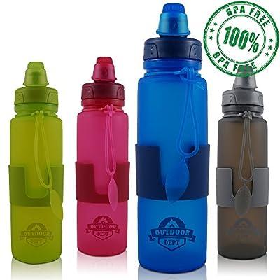 Faltbare Trinkflasche aus BPA freiem Silikon, 650 ML, Spülmaschinenfest, Wasserflasche, Falt-Flasche aufrollbar für Sport, Fitness, Schule, KiTa, Kindergarten Arbeit, Reise, Sport.