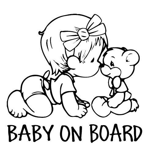 EROSPA® Auto-Aufkleber KFZ - Baby On Board - Mädchen mit Teddy - Car-Sticker (Schwarz)