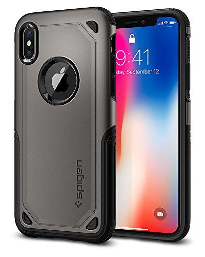 Cover iphone x, spigen [hybrid armor] custodia iphone x con tecnologia air cushion e protezione ibrida drop per apple iphone x (2017) - gunmetal - 057cs22350